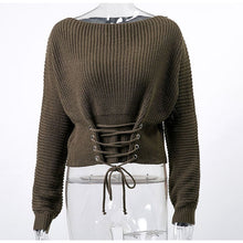 Load image into Gallery viewer, Women's Conmoto Black Lace Up Knitted Pullover Sweater Long Sleeve
