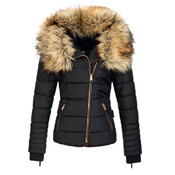 Women's Short Parkas Coat Warm Fake Fur Collar Zipper