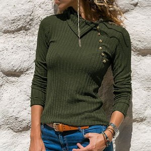 Women's Turtleneck Sweater Slim Ribber Knitted Jumpers