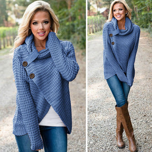 Women's Scarf Collar Solid Warm Knitted Sweaters