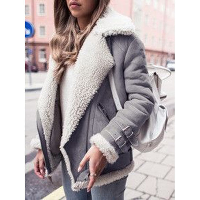 Women's Faux Suede Fur Coats Warm Lamb Wool Coat
