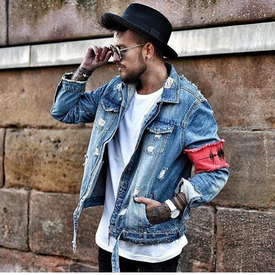 Men's Classic Broken Zipper Denim Jacket