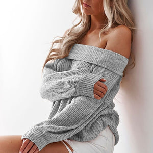 Women's Solid Color Warm Off Shoulder Sweater