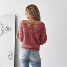 Load image into Gallery viewer, Women's Elegant V Neck Backless Sweater