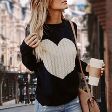 Load image into Gallery viewer, Women's Black&White Heart Sweater