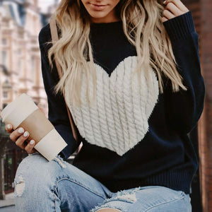 Women's Black&White Heart Sweater