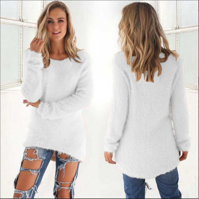 \Women's Knitted Pullover O Neck Loose Sweater