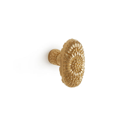 0015-2-GP Sherle Wagner International Oval Daisy Cabinet & Drawer Knob in Gold Plate metal finish