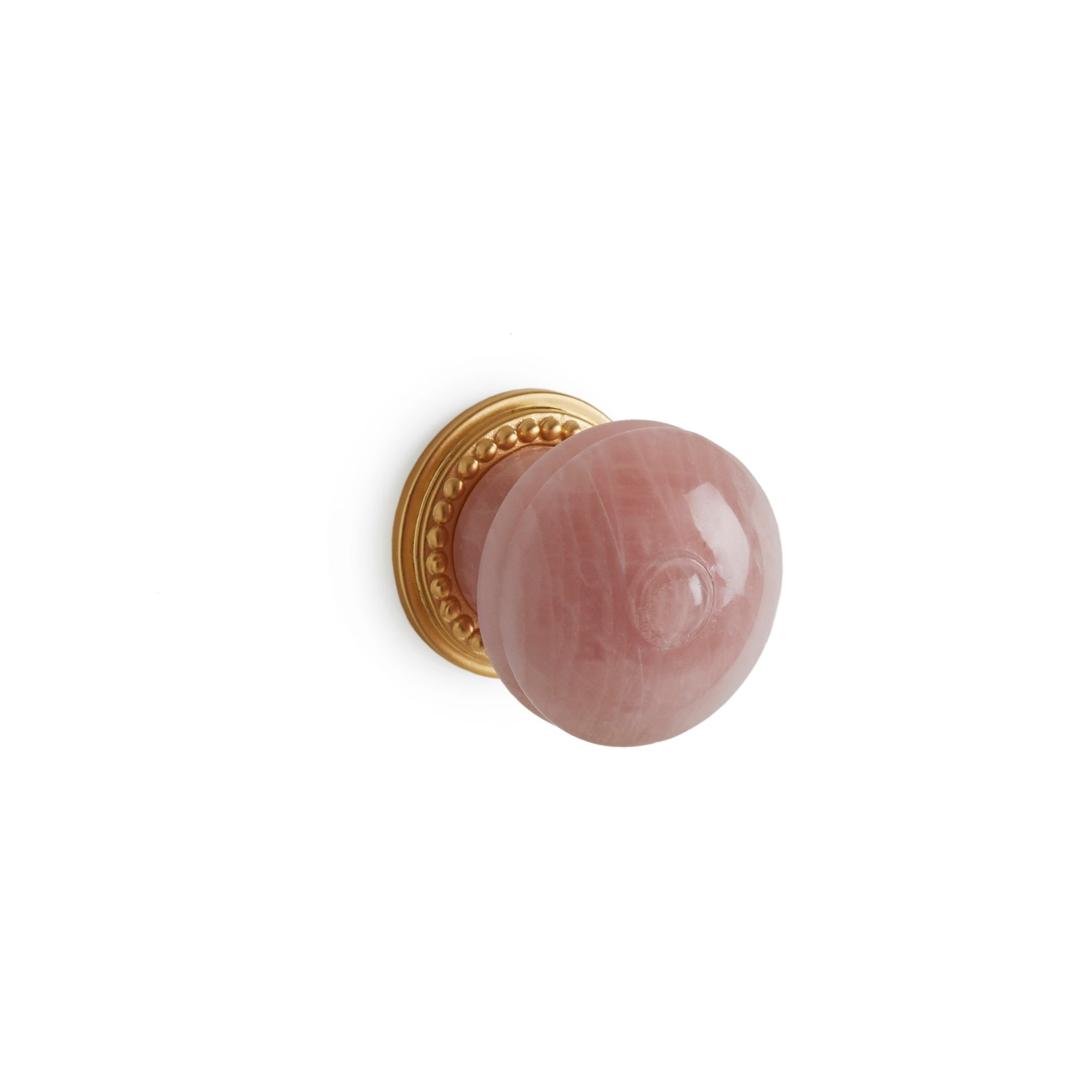 0022-1-RSQU-GP Sherle Wagner International Semiprecious Rose Quartz Bamboo Cabinet & Drawer Knob in Gold Plate metal finish