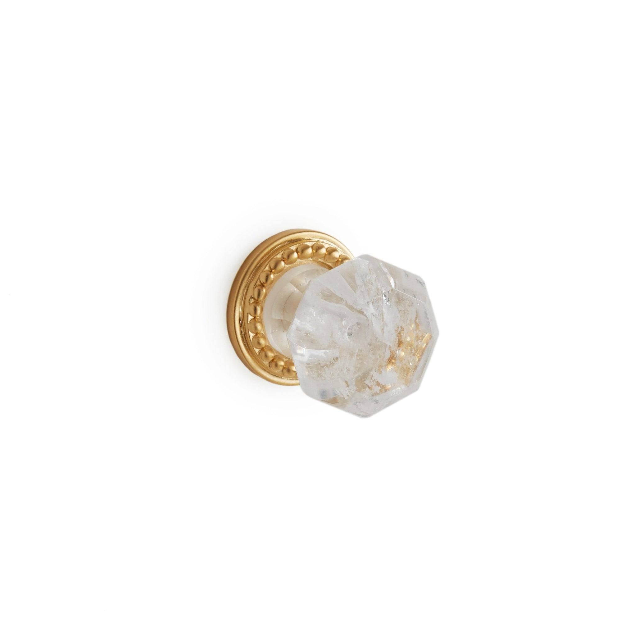 0023-1-RKCR-GP Sherle Wagner International Semiprecious Rock Crystal Octagon Cabinet & Drawer Knob in Gold Plate metal finish