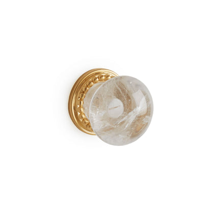 0025-2-RKCR-GP Sherle Wagner International Semiprecious Rock Crystal Round Cabinet & Drawer Knob in Gold Plate metal finish