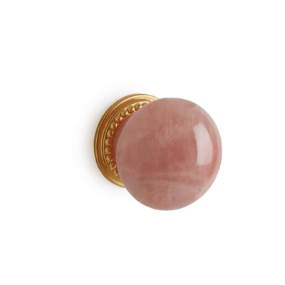 0025-2-RSQU-GP Sherle Wagner International Semiprecious Rose Quartz Round Cabinet & Drawer Knob in Gold Plate metal finish
