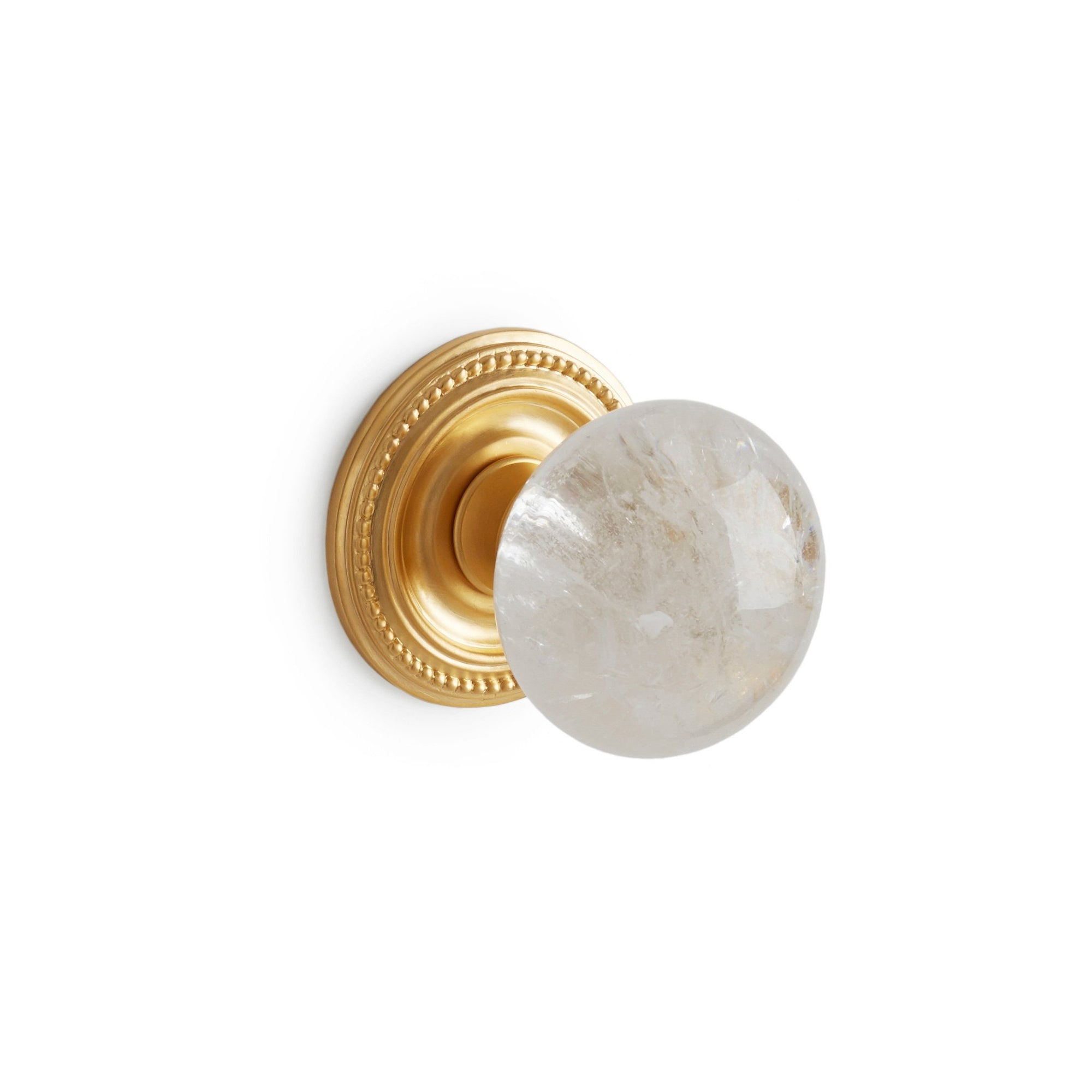 0025DOR-RKCR-GP Sherle Wagner International Semiprecious Rock Crystal Round Door Knob in Gold Plate metal finish