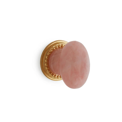 0026-2-RSQU-GP Sherle Wagner International Semiprecious Rose Quartz Oval Cabinet & Drawer Knob in Gold Plate metal finish