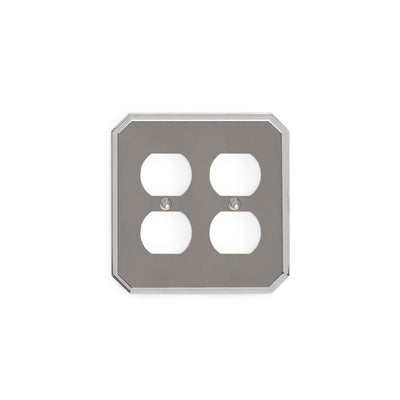 0035D-PLG-CP Sherle Wagner International Harrison Double Duplex Plug Plate in Polished Chrome metal finish