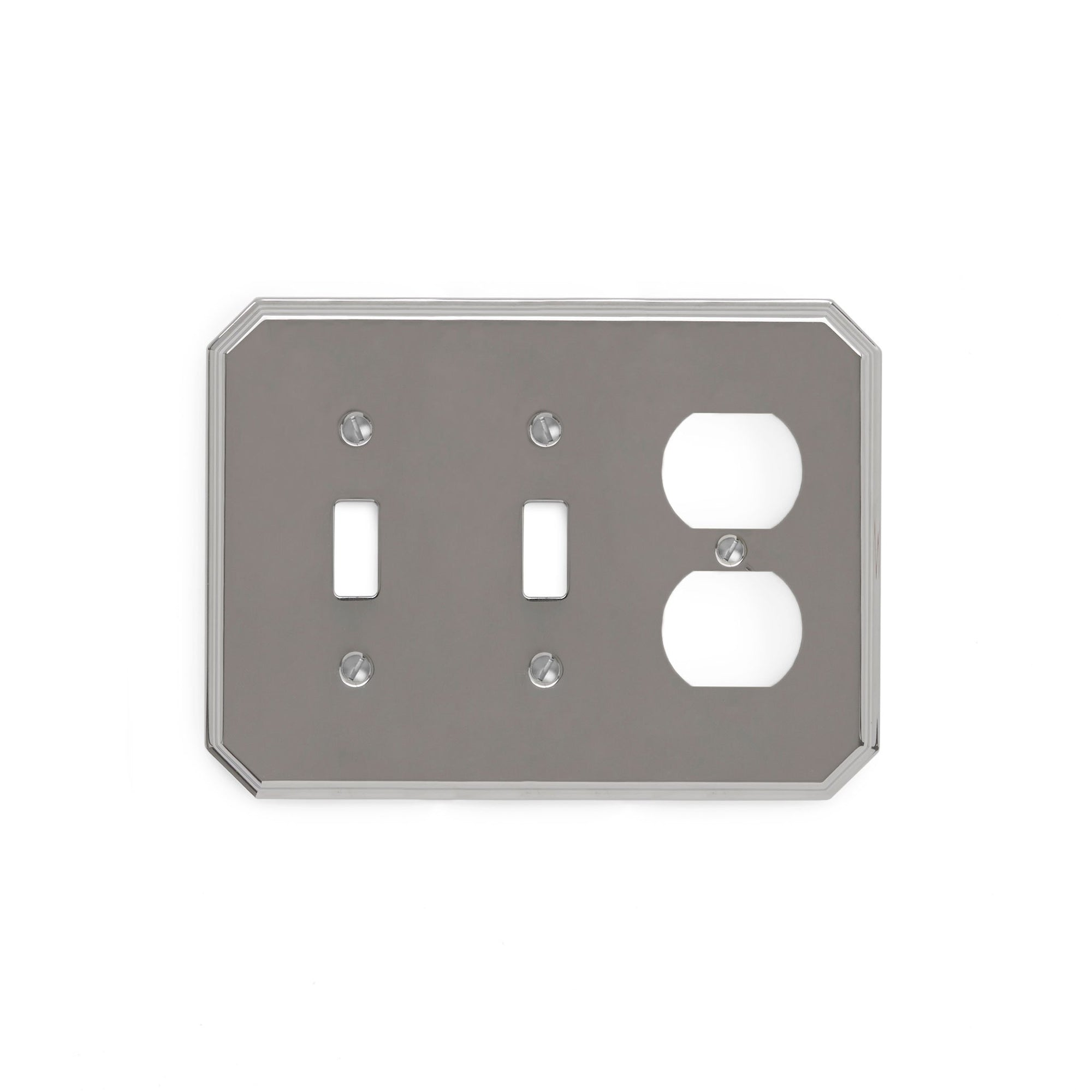 0035T-SWT-SWT-PLG-CP Sherle Wagner International Harrison Triple Double Switch & Single Duplex Plug Plate in Polished Chrome metal finish