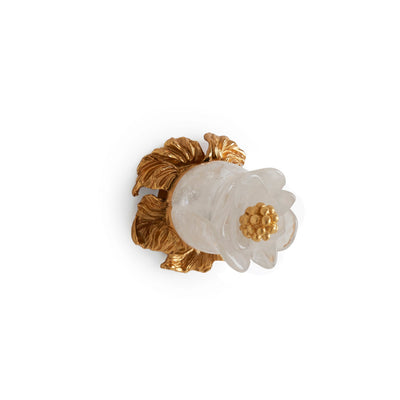 0040-RKCR-GP Sherle Wagner International Rock Crystal Insert Rose Bud Cabinet & Drawer Knob in Gold Plate metal finish