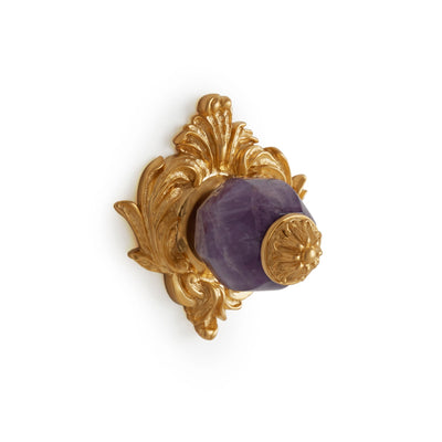 0061-AMET-GP Sherle Wagner International Amethyst Insert Leaves Cabinet & Drawer Knob in Gold Plate metal finish