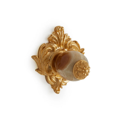 0061-BROX-GP Sherle Wagner International Brown Onyx Insert Leaves Cabinet & Drawer Knob in Gold Plate metal finish