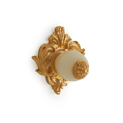 0061-HNOX-GP Sherle Wagner International Honey Onyx Insert Leaves Cabinet & Drawer Knob in Gold Plate metal finish