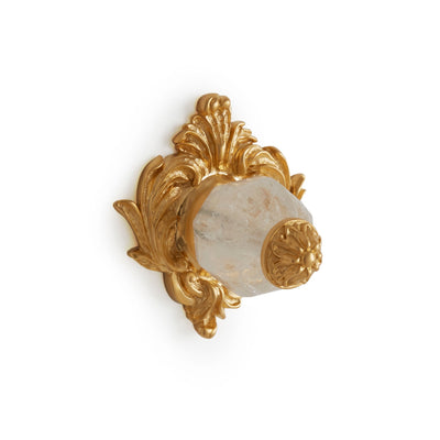 0061-RKCR-GP Sherle Wagner International Rock Crystal Insert Leaves Cabinet & Drawer Knob in Gold Plate metal finish