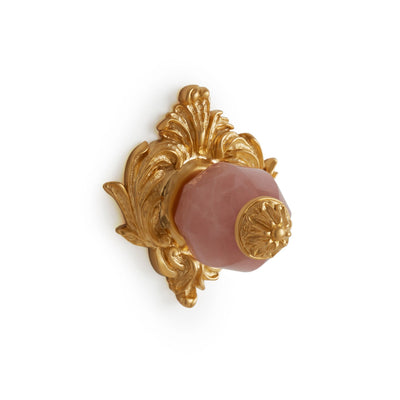 0061-RSQU-GP Sherle Wagner International Rose Quartz Insert Leaves Cabinet & Drawer Knob in Gold Plate metal finish
