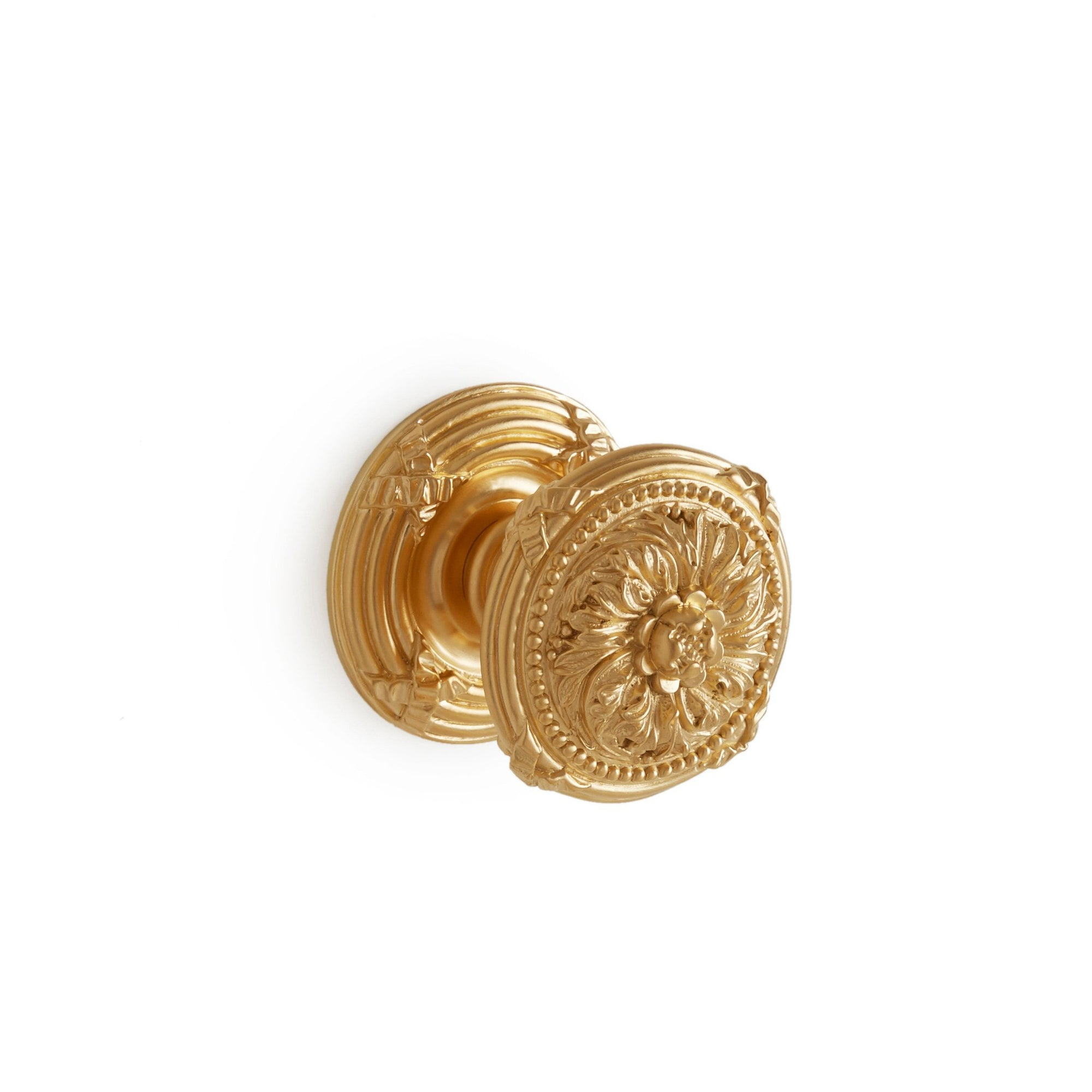 0075DOR-GP Sherle Wagner International Floral Ribbon & Reed Door Knob in Gold Plate metal finish