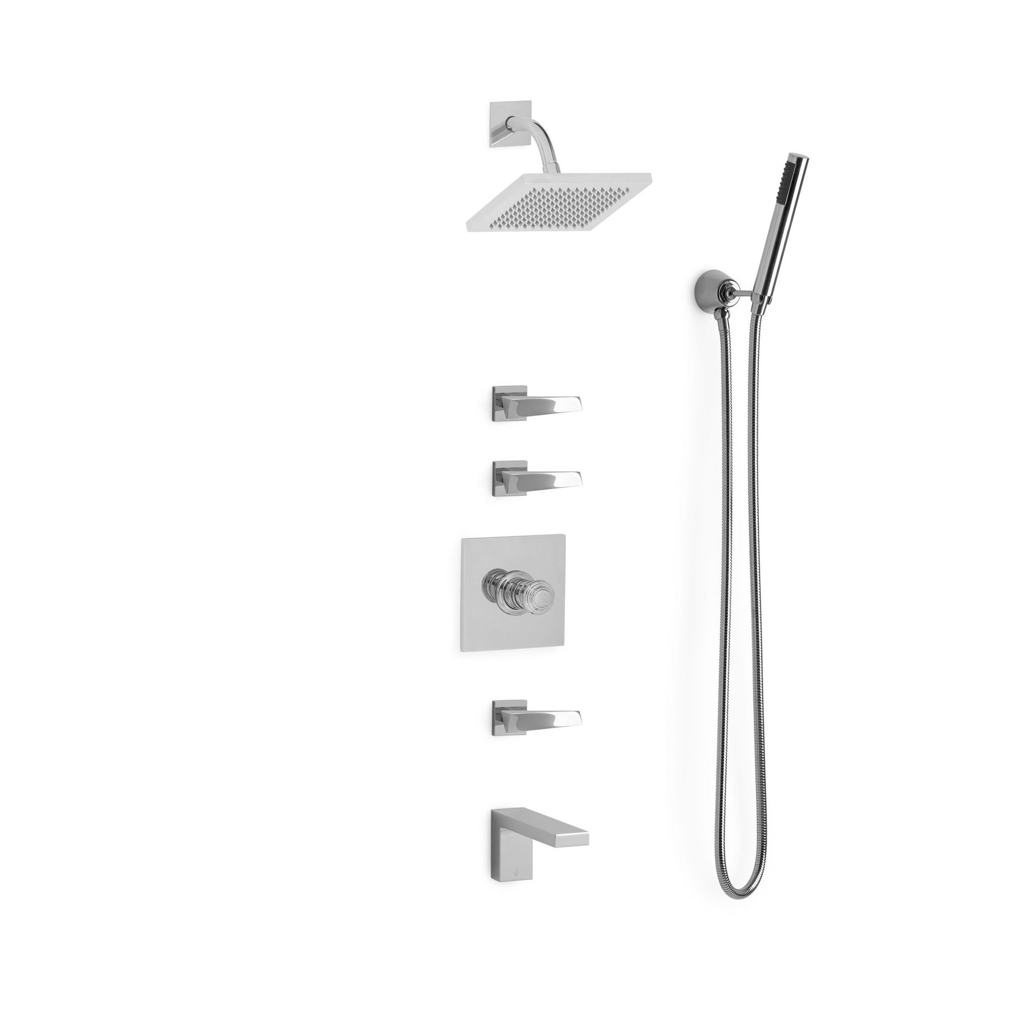 Sherle Wagner International Arco Modern High Flow Thermostatic Shower and Tub System in Polished Chrome metal finish