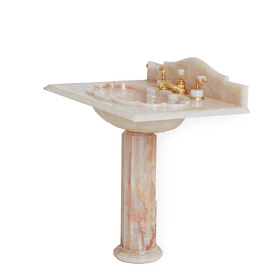 0211PED-PKOX Sherle Wagner International Pink Onyx Shell Counter Pedestal Side View