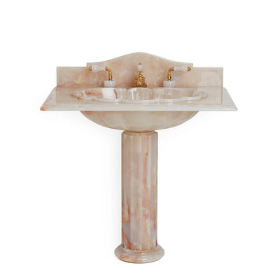 0211PED-PKOX Sherle Wagner International Pink Onyx Shell Counter Pedestal