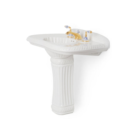 0214PED-WHT Sherle Wagner International White Classical Ceramic Pedestal Side View