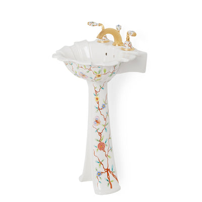 0222PED-51SG-WH Sherle Wagner International Summer Garden Ceramic Tulip Pedestal Side View