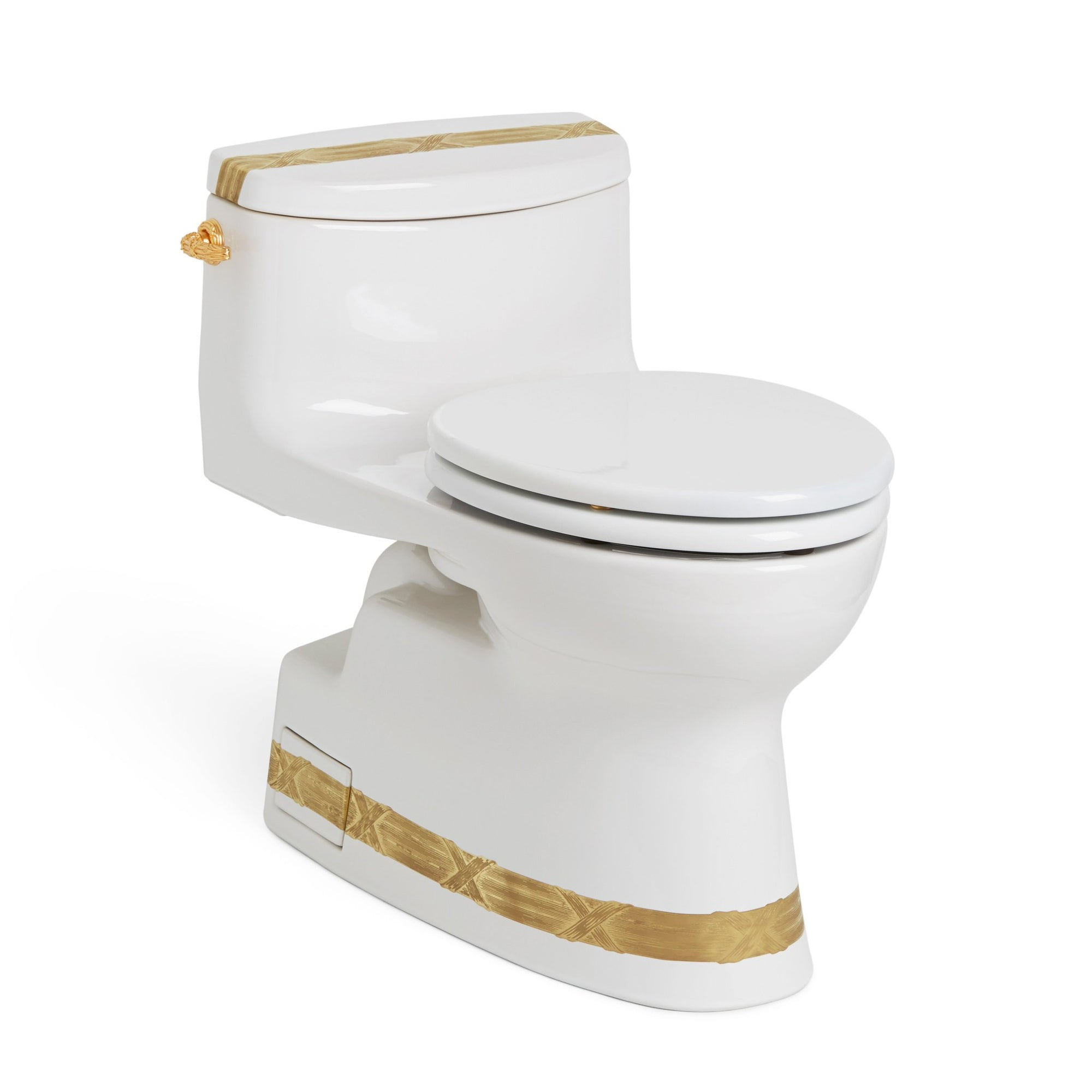 0234EL-3EN-G-WH Sherle Wagner International Banded Burnished Gold Ribbon & Reed on White Ceramic Toilet