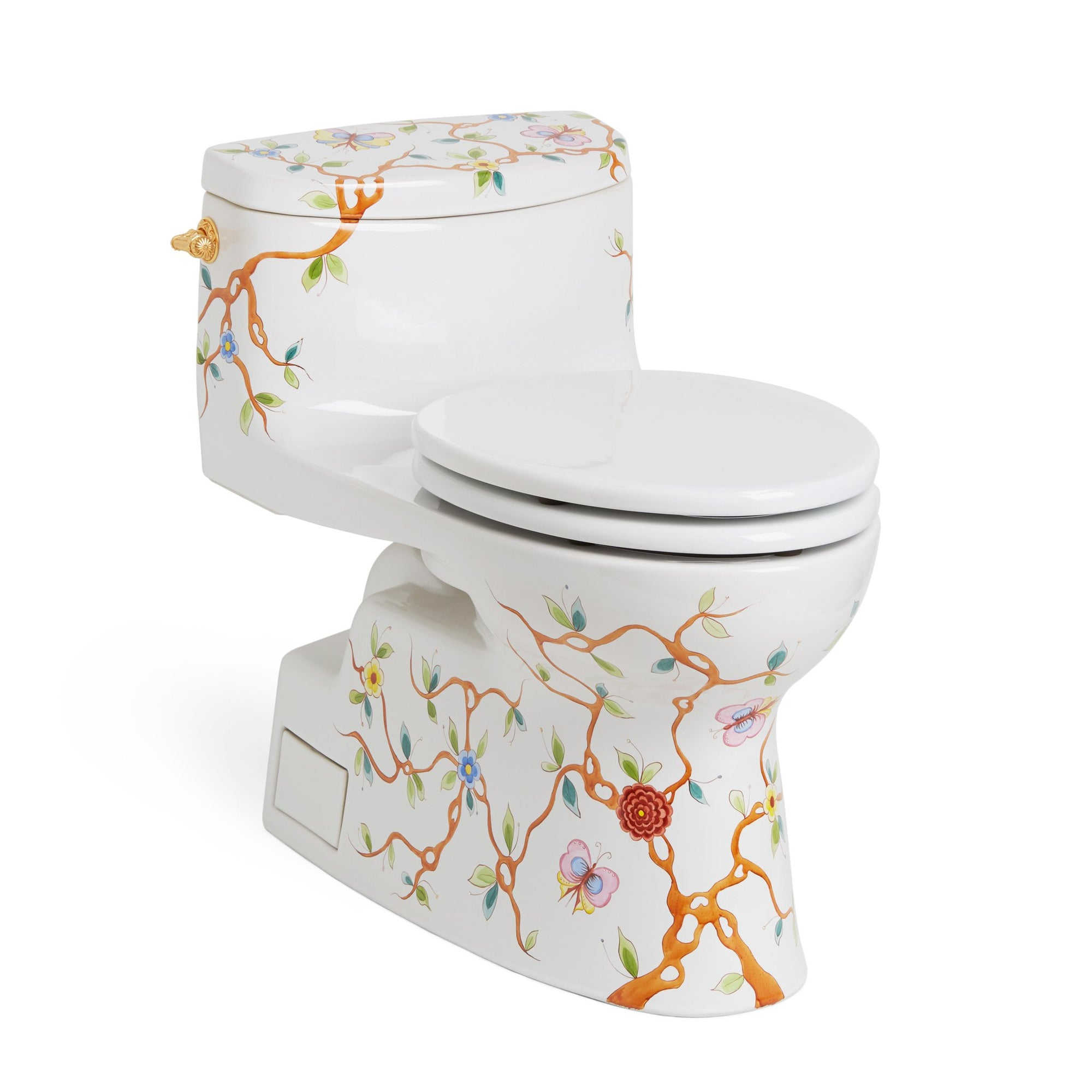 0234EL-51SG-WH Sherle Wagner International Summer Garden on White Ceramic Toilet