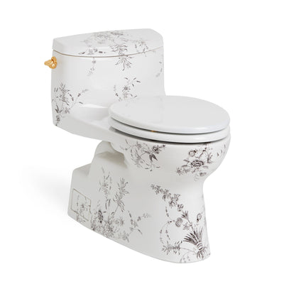 0234EL-89CH-WH Sherle Wagner International Le Jardin Charcoal on White Ceramic Toilet