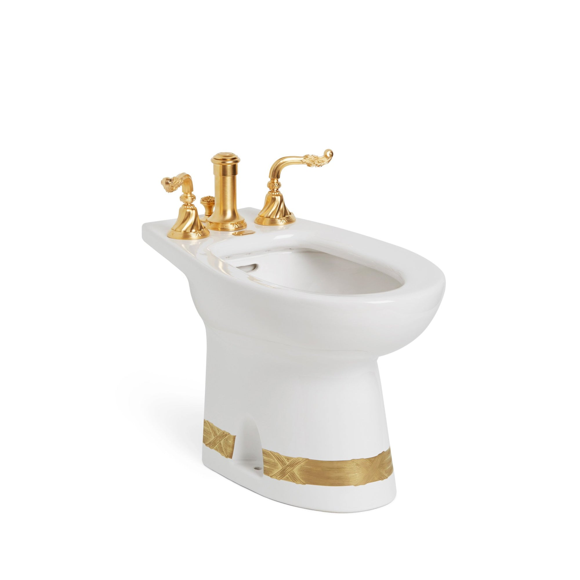 0235-T4-3EN-G-WH Sherle Wagner International Banded Burnished Gold Ribbon & Reed on White Ceramic Bidet