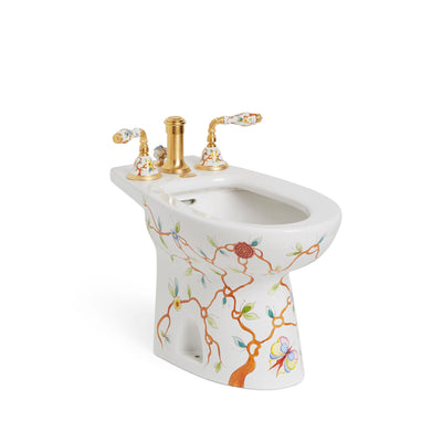 0235-T4-51SG-WH Sherle Wagner International Summer Garden on White Ceramic Bidet
