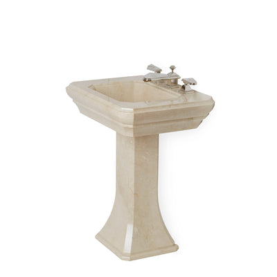 0298PED-CREMA Sherle Wagner International Crema Marfil Hexagon Pedestal Side View