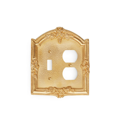 0458D-SWT-PLG-GP Sherle Wagner International Grapes Double Single Switch & Duplex Plug Plate in Gold Plate metal finish