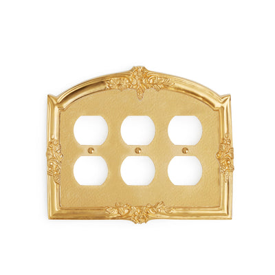0458T-PLG-GP Sherle Wagner International Grapes Triple Duplex Plug Plate in Gold Plate metal finish