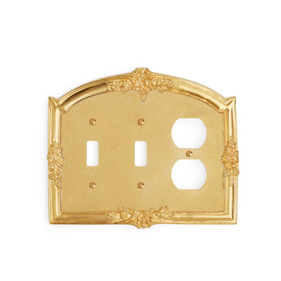 0458T-SWT-SWT-PLG-GP Sherle Wagner International Grapes Triple Double Switch & Single Duplex Plug Plate in Gold Plate metal finish