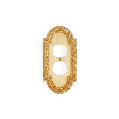 0459-PLG-GP Sherle Wagner International Acanthus Single Duplex Plug Plate in Gold Plate metal finish
