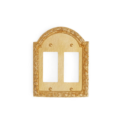 0459D-DEC-GP Sherle Wagner International Acanthus Double Decora/GFI Plate in Gold Plate metal finish