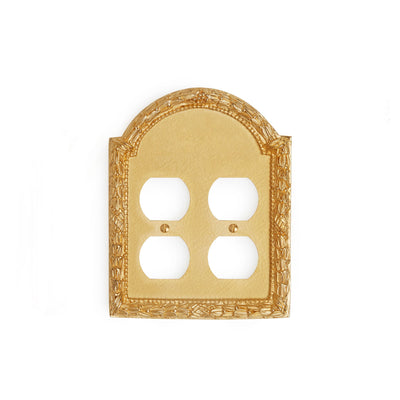 0459D-PLG-GP Sherle Wagner International Acanthus Double Duplex Plug Plate in Gold Plate metal finish