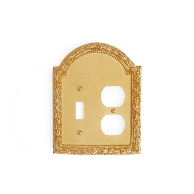 0459D-SWT-PLG-GP Sherle Wagner International Acanthus Double Single Switch & Duplex Plug Plate in Gold Plate metal finish