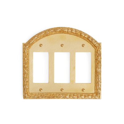 0459T-DEC-GP Sherle Wagner International Acanthus Triple Decora/GFI Plate in Gold Plate metal finish