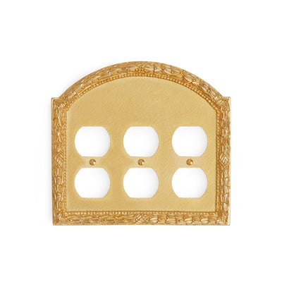 0459T-PLG-GP Sherle Wagner International Acanthus Triple Duplex Plug Plate in Gold Plate metal finish
