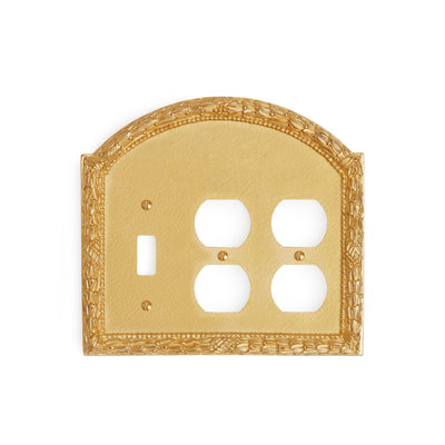 0459T-SWT-PLG-PLG-GP Sherle Wagner International Acanthus Triple Single Switch & Double Duplex Plug Plate in Gold Plate metal finish