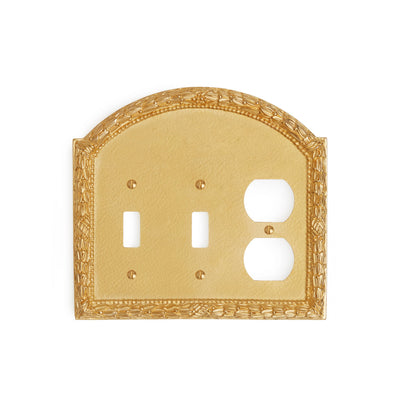 0459T-SWT-SWT-PLG-GP Sherle Wagner International Acanthus Triple Double Switch & Single Duplex Plug Plate in Gold Plate metal finish