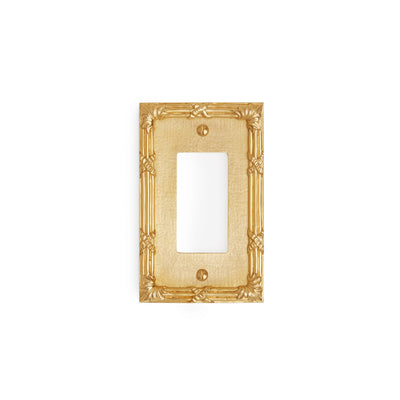 0460-DEC-GP Sherle Wagner International Ribbon & Reed Single Decora/GFI Plate in Gold Plate metal finish